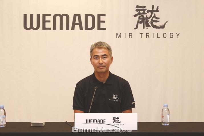 중국에서 기자회견을 연 위메이드 장현국 대표(사진: 게임메카 촬영)