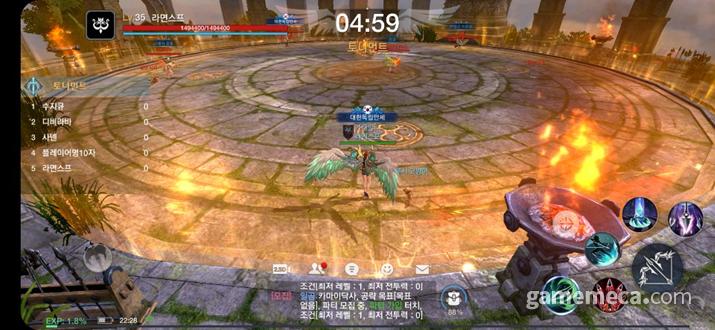 10인의 인원이 두 조로 나뉘어서 게임을 치른 뒤 결승전을 치르는 '용맹의 전장' (사진: 게임메카 촬영)