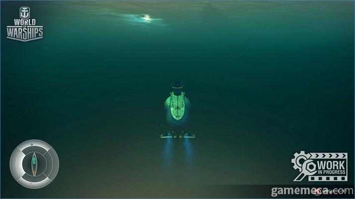 잠수 상태에선 적이 잠수함을 볼 수 없고 잠수함도 적을 볼 수 없다 (사진제공: 워게이밍)