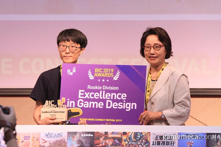 '프로스토리'는 그 완성도를 인정받아 루키 부문 게임 디자인상을 수상하게 됐다 (사진: 게임메카 촬영)