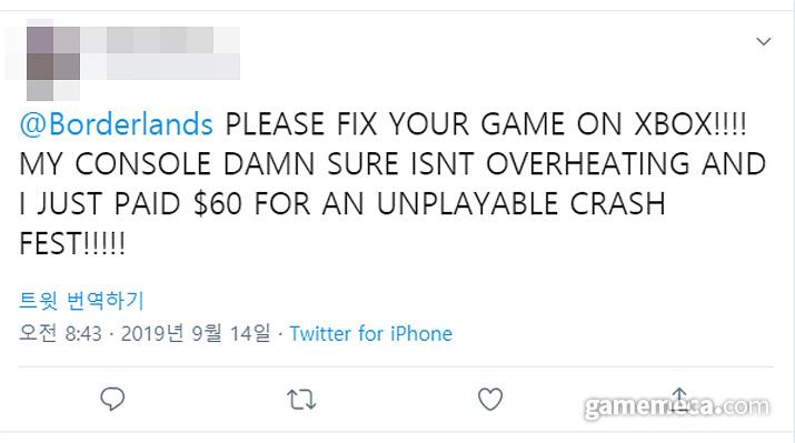 '보더랜드 3' Xbox One 과열 오류를 호소하는 유저 2