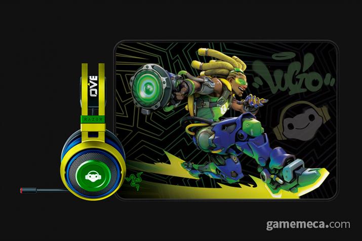 레이저 루시우 에디션 헤드셋과 마우스패드 공식 이미지 (사진출처: 레이저 공식 홈페이지)