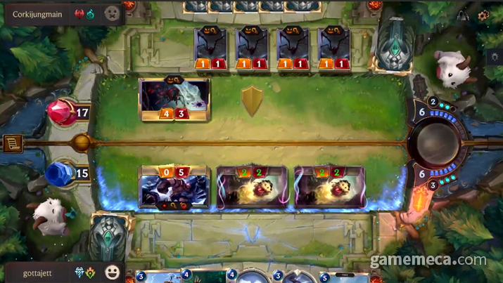 카드를 내는 것은 번갈아가면서 진행하게 된다 (사진출처: 게임 공식 소개 영상 갈무리)