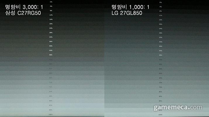 C27RG50, 27GL850 명암비 비교 (사진: 게임메카 촬영)