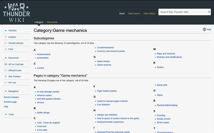 방대한 자료들을 차근차근 읽다 보면 게임 플레이에 도움이 된다 (사진출처: 워썬더 위키)