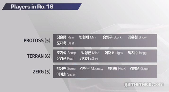 KSL 시즌4 16강 진출 명단 (사진제공: 블리자드)