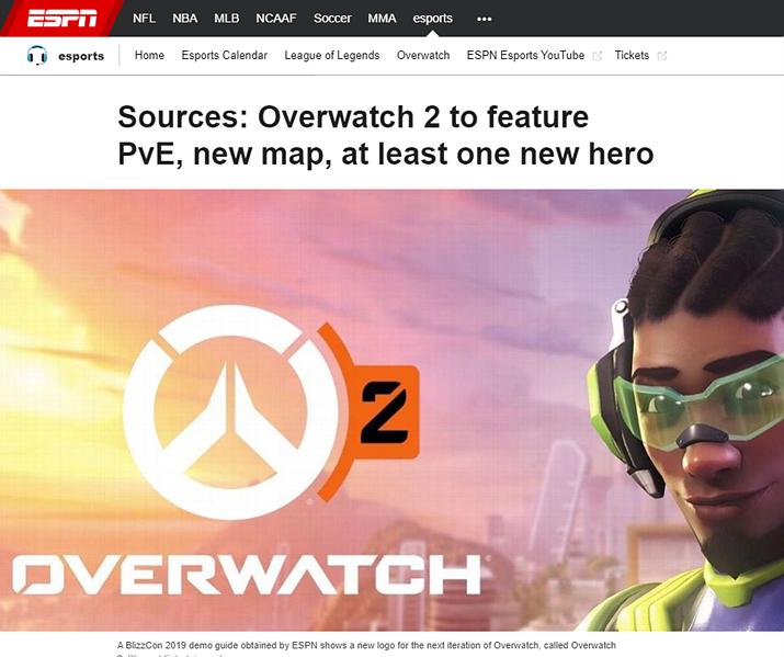 ESPN이 공개한 '오버워치 2' 로고 (사진출처: ESPN)