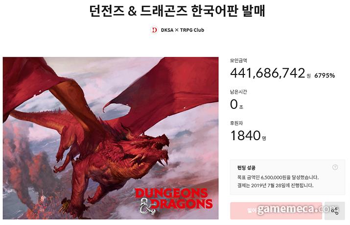 텀블벅 후원을 통해 4억 4,168만 원을 모금한 D&D 한국어판 (사진출처: 텀블벅)