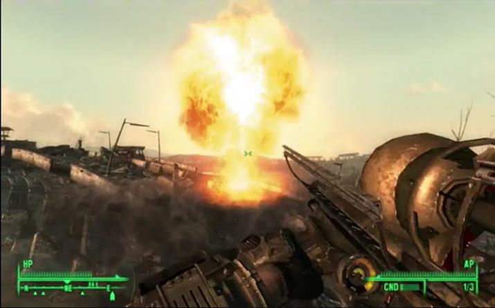 폴아웃 3의 소형 핵탄두 발사기 '팻맨'과 관련 미션 (사진출처: 유튜브 Hirvibongari2 채널 영상 갈무리)