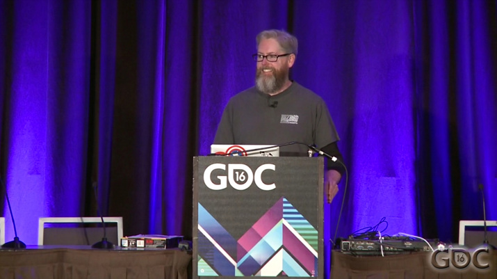 GDC 2016에 참가해 디아블로 제작 강연을 한 데이빗 브레빅 (사진출처: GDC Vault)