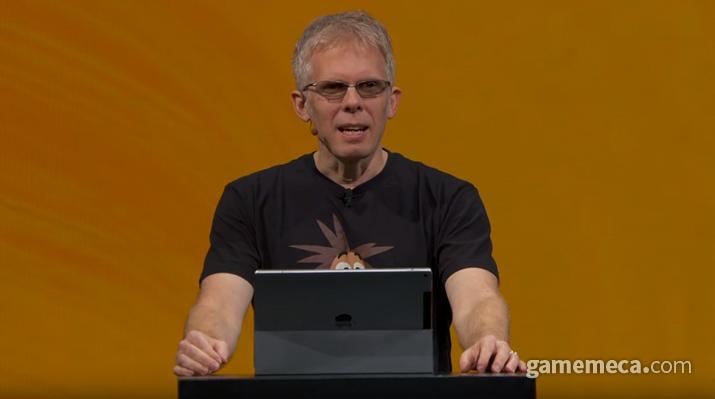 기어 VR에 대해 설명하는 존 카맥 CTO (사진출처: 오큘러스 커넥트 6 공식 영상 갈무리)