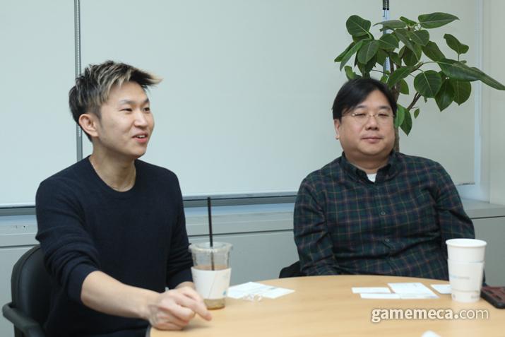 왼쪽부터 우주게임즈 최영준 디렉터, 최동조 대표 (사진: 게임메카 촬영)