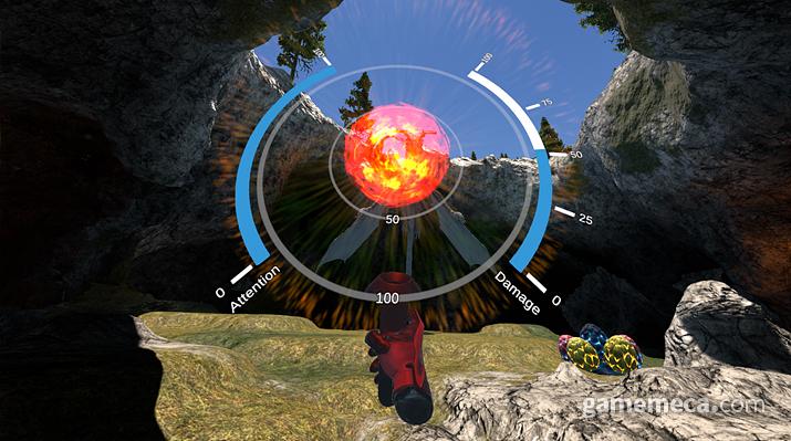 생각을 통해 뇌파 에너지를 모아 적을 물리치는 데모 게임 (사진출처: 제품 공식 웹페이지)