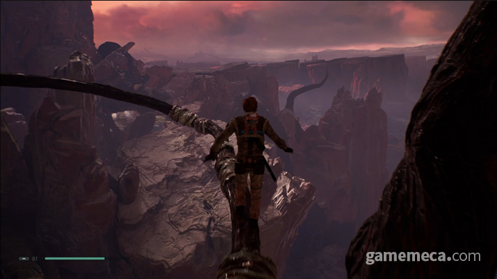 붉은 절벽으로 가득한 다쏘미르의 대비가 인상적이다 (사진: 게임메카 촬영)