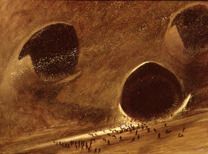 '아라키스'의 모래사막에만 서식하며 '멜란지'를 생성하는 생물 '모레벌레'(사진출처: 듄 위키)