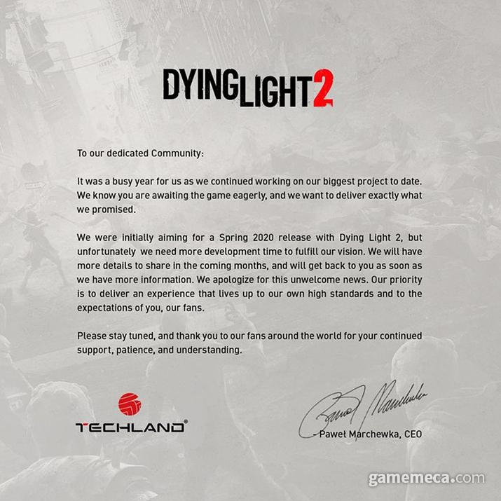 다잉 라이트 2 연기를 알리는 사과문 (사진출처: 테크랜드 공식 트위터)