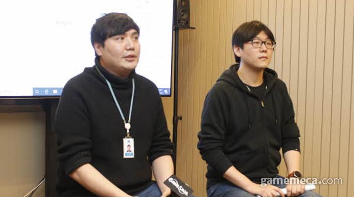 엔픽셀 김시래 게임사업팀장(좌), 이두형 기획팀장(우) (사진: 게임메카 촬영)