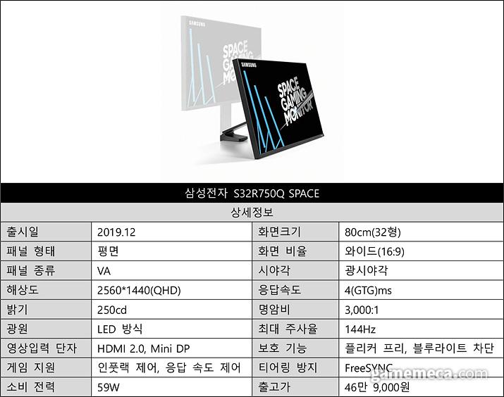 S32R750Q SPACE 스펙 (자료출처: 제품 공식 웹페이지)