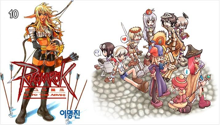 10권에서 연재 중지된 만화 라그나로크(좌)와 게임 라그나로크 온라인(우) (사진출처: 알라딘, 게임 공식 사이트)