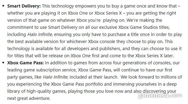 '스마트 딜리버리'를 통해 전작에서 구매한 게임을 추가 비용없이 Xbox 시리즈 X에서 즐겨볼 수 있다 (사진출처: Xbox 공식 블로그)
