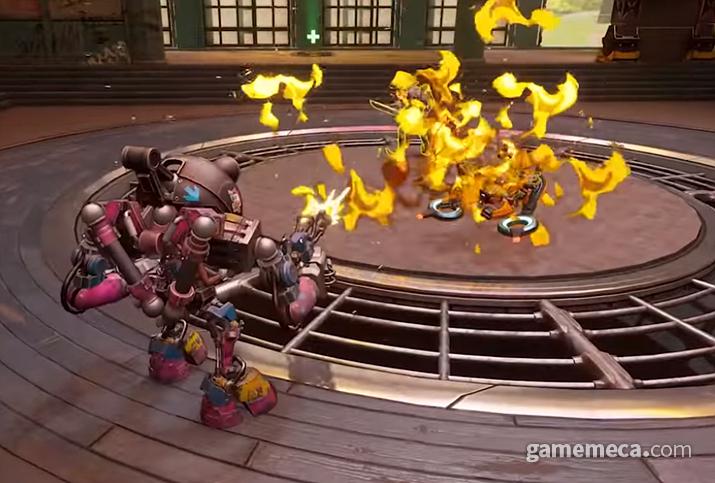 궁극기가 차면 로봇에 타고 최전방으로 뛰어든다 (사진출처: 기즈모 공식 소개 영상 갈무리)