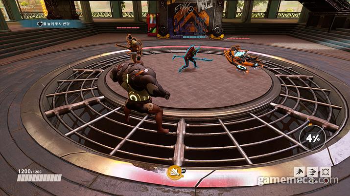 훈련장은 멀뚱멀뚱 서 있는 캐릭터 세 명이 전부라 시험해 볼 수 있는 스킬이 한정적이다 (사진: 게임메카 촬영)
