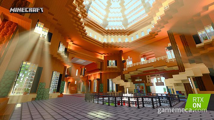 블록웍스가 만든 상상 아일랜드, 탐험형 테마파크이며 천장에서 내려오는 빛 표현을 볼 수 있다 (사진출처: 엔비디아 공식 홈페이지)