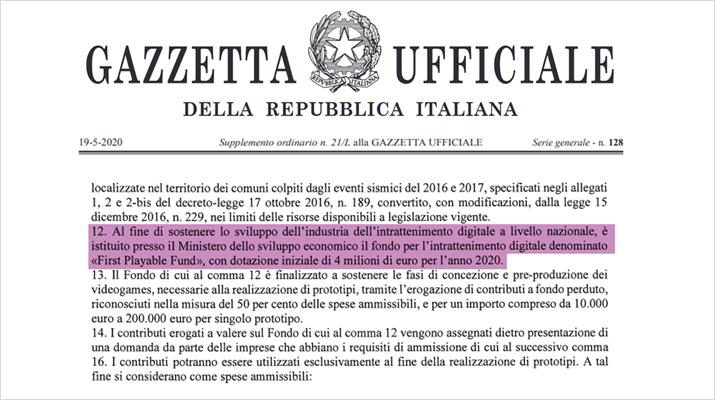 이탈리아 정부가 현지 게임사 지원을 위해 400만 유로 규모의 기금을 조성한다 (자료출처: IIDEA)