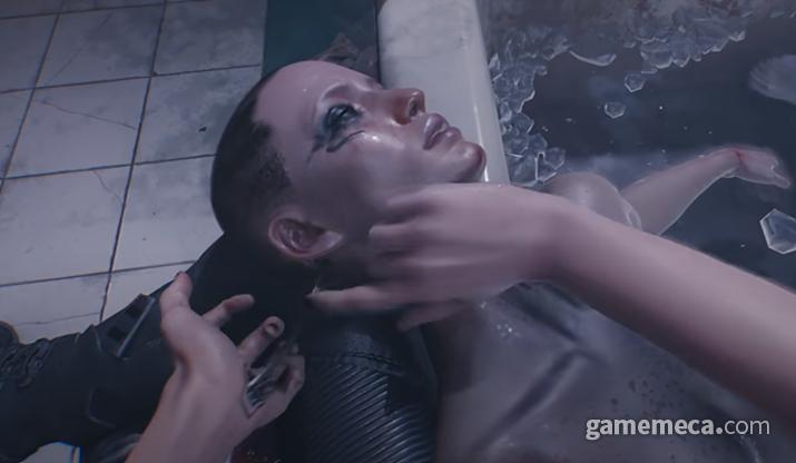 사람들의 목덜미에 소켓이 존재하는 세계, 사이버펑크 2077 (사진출처: 초반 플레이 영상 갈무리)