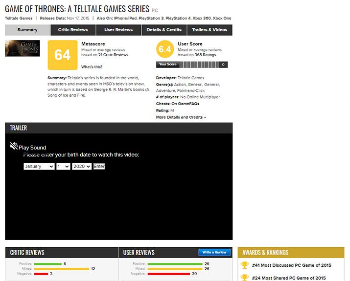 썩 좋지 않은 점수를 받은 텔테일게임즈 왕좌의 게임 (사진출처: Metacritic)