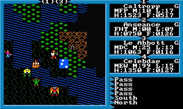 드래곤 퀘스트는 방대한 2차원 지도를 탐험하는 울티마 3에서 많은 영감을 받았다고 한다 (사진출처: Abandonwares)