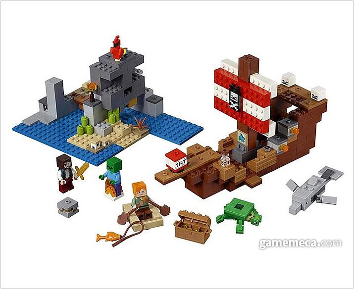 이번에는 해적선과 선원, 어류 등을 레고로 구현했다. 마인크래프트가 블록 기반 그래픽이라 레고와 너무 잘 어울린다 (사진출처: 마인크래프트 공식 샵)