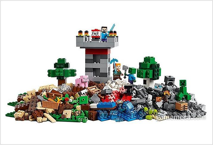 역사와 전통의 레고에서 출시한 마인크래프트 박스. 사진과같이 많은 블록들을 창의성있게 조립하면 게임 속 장면을 그대로 묘사할 수 있다 (사진출처: 마인크래프트 공식 샵)