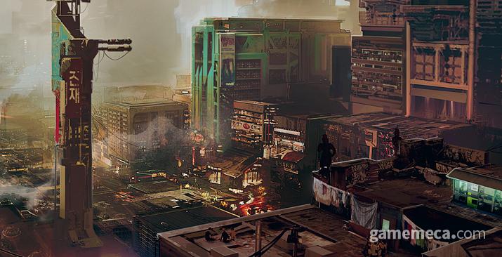 질서와 무질서가 공존하는 글렌 남부 전경을 자세히 보면 (사진출처: 월드 오브 사이버펑크 2077)