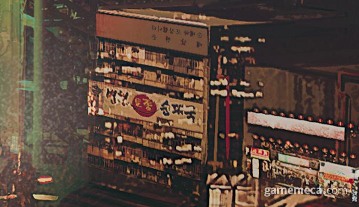 병천 토종 순대국이라는 한국음식 간판을 발견할 수 있다 (사진출처: 월드 오브 사이버펑크 2077)