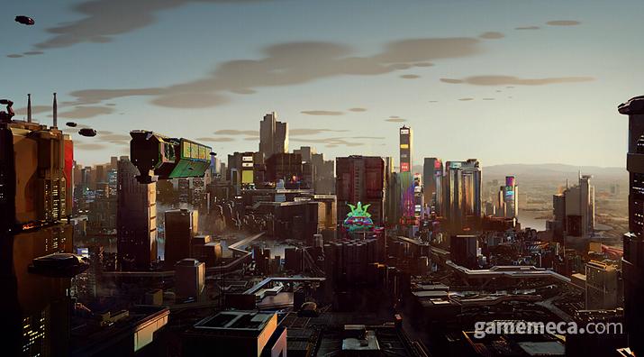 사이버펑크 2077의 무대가 되는 나이트 시티 전경 (사진출처: 월드 오브 사이버펑크 2077)