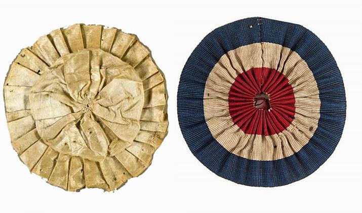 앙시앙레짐을 상징하는 백색 모장(좌)과 혁명을 상징하는 삼색 모장(우) (사진출처: 위키피디아)