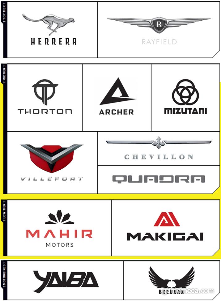 사이버펑크 2077에 나오는 차량 제조사 엠블럼 (사진출처: 월드 오브 사이버펑크 2077)