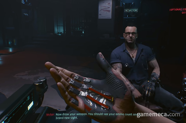 손에 장착한 스마트 그립을 통해 사용자와 총기를 연결하고... (사진출처: 사이버펑크 2077 공식 플레이 영상 갈무리)