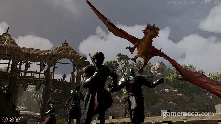 '기스양키' 동료는 레드 드래곤을 타고 인간을 불태워버리는 동족을 만나고 반가워한다 (사진: 게임메카 촬영)