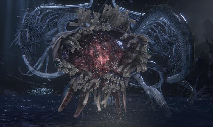 중반에 접어들면 온갖 촉수 달린 외계 존재가 적으로 등장한다 (사진출처: 블러드본 팬덤 위키)