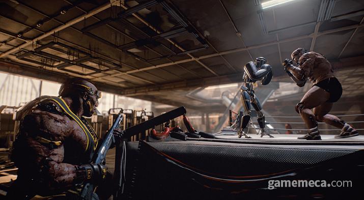 각종 운동기구와 대련 장비가 마련된 체육관도 열심히 다닌다 로봇을 상대로 열심히 격투 기술을 수련 중인 애니멀 단원 (사진출처: 공식 설정집 '월드 오브 사이버펑크 2077')