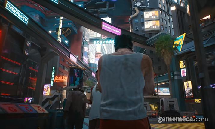 각종 광고와 미디어로 넘쳐나는 2077년 나이트 시티 (사진출처: 공식 유튜브 영상 갈무리)