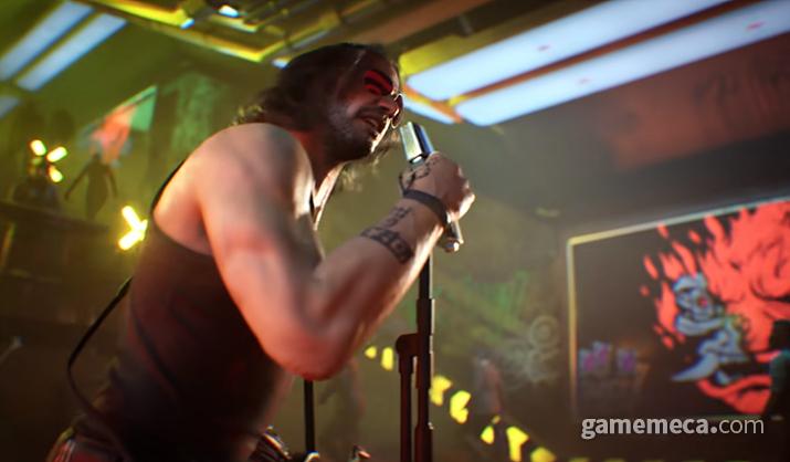 조니 실버핸드가 이끄는 밴드 이름이 '사무라이'고 붉은 오니 로고를 쓰는 것도 우연이 아니다 (사진출처: 사이버펑크 2077 공식 유튜브 영상 갈무리)