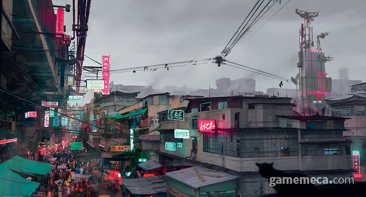 일본 기업들이 만들고 현재는 중국계에 점령당한 구도심 가부키 (사진출처: 공식 설정집 '월드 오브 사이버펑크 2077)