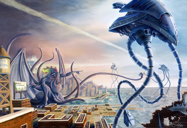 크툴루 아포칼립스 및 포스트 아포칼립스는 의외로 이미 개척된 장르다, 물론 크툴루와 외계인 및 로봇의 싸움도… (사진출처: 핀터레스트)