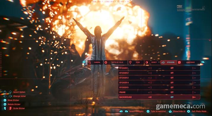 사이버펑크 2077에 탑재되는 포토 모드 (사진출처: 공식 소개 영상 갈무리)