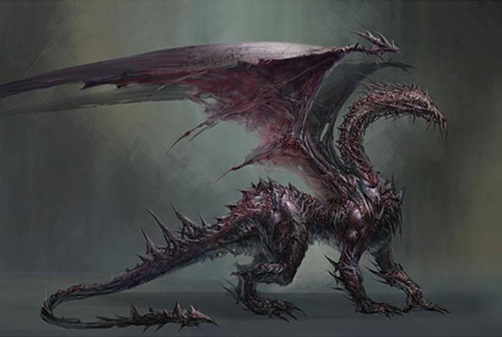 신으로 숭배되던 고위 드래곤이 다크스폰에 오염된 결과인 아크데몬 (사진출처:  Dragon Age Wiki)