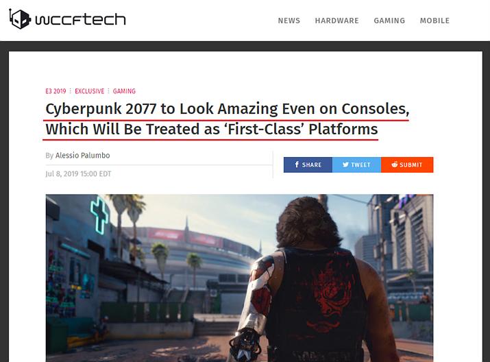 사이퍼펑크 2077은 콘솔이 1st 플랫폼이라고요? (사진출처: wccftech.com)