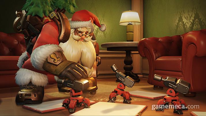 산타 할아버지가 직접 만든 포탑이라니, 생애 최고의 선물일 듯 (사진출처: 오버워치 공식 홈페이지)